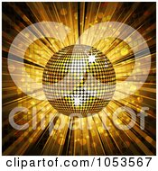 Royalty Free Vector Clip Art Illustration Of A 3d Golden Disco Ball And Mosaic Background