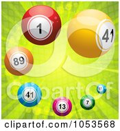 Royalty Free 3d Vector Clip Art Illustration Of A Background Of Colorful 3d Lottery Balls Over Green Rays