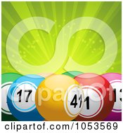 Royalty Free 3d Vector Clip Art Illustration Of A Background Of Colorful 3d Bingo Or Lottery Balls Over Green Rays
