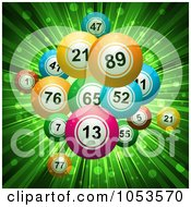 Royalty Free 3d Vector Clip Art Illustration Of A Background Of 3d Bingo Or Lottery Balls Over Green Rays by elaineitalia