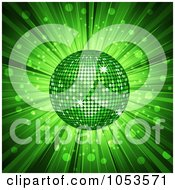Royalty Free Vector Clip Art Illustration Of A 3d Green Disco Ball And Ray Background
