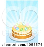 Royalty Free Vector Clip Art Illustration Of Easter Eggs On Top Of A Cake Against Blue Rays