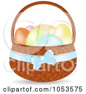 Royalty Free Vector Clip Art Illustration Of Pastel Eggs In A Basket by elaineitalia