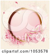 Royalty Free Vector Clip Art Illustration Of A Grungy Pink Easter Background Of Flowers Butterflies Splatters Eggs And A Golden Frame