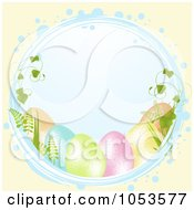 Royalty Free Vector Clip Art Illustration Of A Blue Easter Circle With Eggs And Vines Over Pastel Yellow