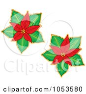 Royalty Free Vector Clip Art Illustration Of A Digital Collage Of Christmas Poinsettia Stickers