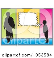 Royalty Free Vector Clip Art Illustration Of A Silhouetted Boy Shouting At A Man by Any Vector