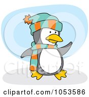 Royalty Free Vector Clip Art Illustration Of A Cartoon Penguin Wearing A Scarf And Hat