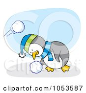 Royalty Free Vector Clip Art Illustration Of A Cartoon Penguin Ducking And Grabbing A Snow Ball