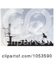 Royalty Free Vector Clip Art Illustration Of Silhouetted Pigeons On A Roof Top Against A Lined Sky