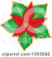 Royalty Free Vector Clip Art Illustration Of A Peeling Christmas Poinsettia Sticker