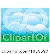 Royalty Free Vector Clip Art Illustration Of Puffy Clouds And Green Grass