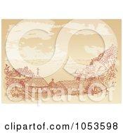 Royalty Free Vector Clip Art Illustration Of A Sepia Sketch Of A Chuch On The Coast Kafsokalyvia