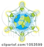 Royalty Free Vector Clip Art Illustration Of Light Bulbs Holding Hands Around Earth by Any Vector