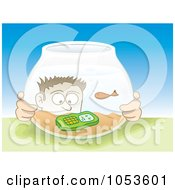 Royalty Free Vector Clip Art Illustration Of A Man Looking At His Cell Phone In A Fish Bowl by Any Vector