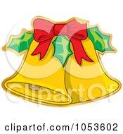 Royalty Free Vector Clip Art Illustration Of A Peeling Christmas Jingle Bell Sticker