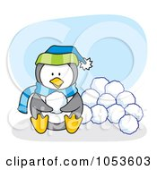 Royalty Free Vector Clip Art Illustration Of A Cartoon Penguin Sitting With Snow Balls