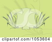 Royalty Free Vector Clip Art Illustration Of A Green Background Of A Banner With Wheat by Any Vector