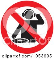 Royalty Free Vector Clip Art Illustration Of A No DJs Sign