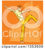 Royalty Free Vector Clip Art Illustration Of A Man Doing Modern Dance Over Grungy Orange by Any Vector