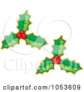 Royalty Free Vector Clip Art Illustration Of A Digital Collage Of Christmas Holly Stickers