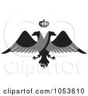 Royalty Free Vector Clip Art Illustration Of A Black Silhouetted Double Headed Eagle And Crown by Any Vector