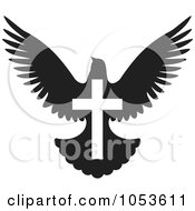 Royalty Free Vector Clip Art Illustration Of A Black And White Dove With A Cross