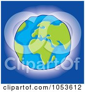 Royalty Free Vector Clip Art Illustration Of A Glowing Earth On Blue by Any Vector