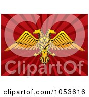 Royalty Free Vector Clip Art Illustration Of A Gold Double Headed Eagle On Red Rays by Any Vector