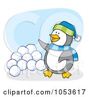 Royalty Free Vector Clip Art Illustration Of A Cartoon Penguin Standing By Snow Balls by Any Vector