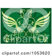 Royalty Free Vector Clip Art Illustration Of An Ornate Green Background With A Beautiful Winged Heart