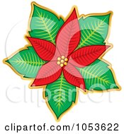 Royalty Free Vector Clip Art Illustration Of A Christmas Poinsettia Sticker