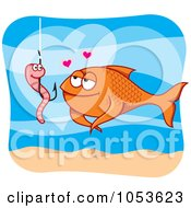 Royalty Free Vector Clip Art Illustration Of A Worm On A Hook And Fish In Love by Any Vector