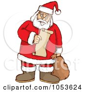 Royalty Free Vector Clip Art Illustration Of A Santa Pausing To Read His List