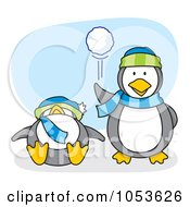 Royalty Free Vector Clip Art Illustration Of A Cartoon Penguin Throwing A Snow Ball