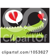 Royalty Free Vector Clip Art Illustration Of A Bird And Alligator In Love