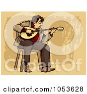 Royalty Free Vector Clip Art Illustration Of A Busker Playing A Bouzouki by Any Vector