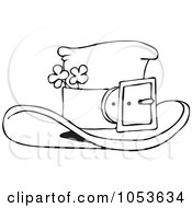 Black And White Outline Of A Leprechaun Hat With Clovers