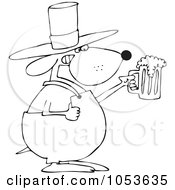 Black And White Outline Of A St Patricks Day Dog Holding Beer