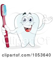 Royalty Free Vector Clip Art Illustration Of A Happy Tooth Holding A Red Tooth Brush by yayayoyo