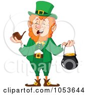 Royalty Free Vector Clip Art Illustration Of A Leprechaun Smoking A Pipe And Carrying A Pot Of Gold