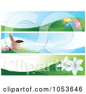 Royalty Free Vector Clip Art Illustration Of A Digital Collage Of Easter Website Banners by Pushkin