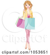 Royalty Free Vector Clip Art Illustration Of A Pretty Young Woman Holding Shopping Bags by Pushkin