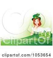 Royalty Free Vector Clip Art Illustration Of A St Patricks Day Woman Over A Green Wave With Beer