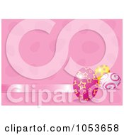 Royalty Free Vector Clip Art Illustration Of A Pink Easter Background With A Ribbon And Eggs