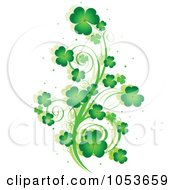 Green St Patricks Day Shamrock Vine Design Element