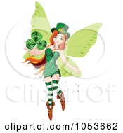 Royalty Free Vector Clip Art Illustration Of A Flying St Patricks Day Fairy Holding Out A Clover