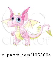 Royalty Free Vector Clip Art Illustration Of A Cute Pink And Yellow Baby Dragon by Pushkin