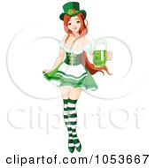 Sexy St Patricks Day Pinup Girl Holding Beer