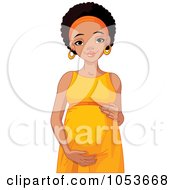 Royalty Free Vector Clip Art Illustration Of A Beautiful Pregnant Black Woman Holding Her Belly by Pushkin